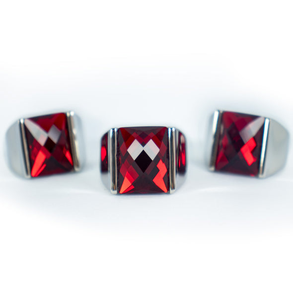 Red Stone Stainless Steel Silver Color Finger Ring