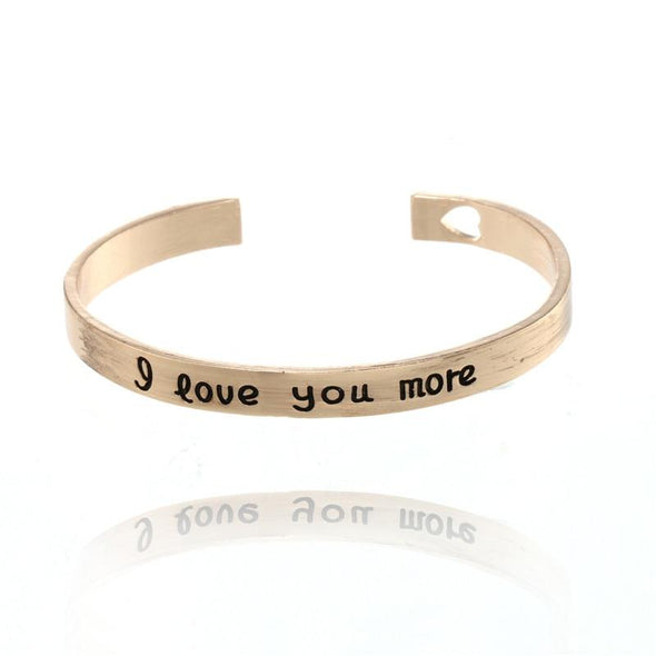 Trendy I Love You More Hollow Heart Lovers Bangles Charms Jewelry fingla