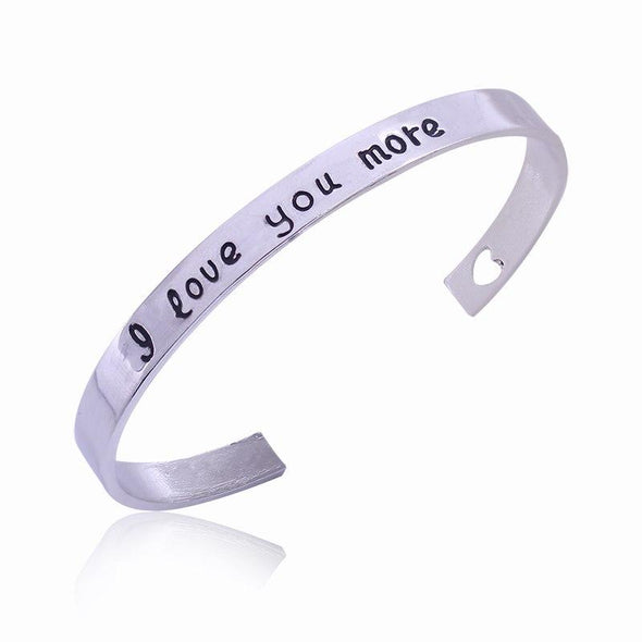 Trendy I Love You More Hollow Heart Lovers Bangles Charms Jewelry fingla Antique Silver Plated