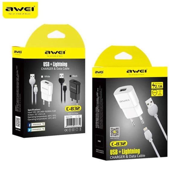 Awei C-832 Lighting iPhone USB Fast Travel Charger - fingla.com