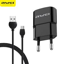 Awei C831 charger adapter with data cable for android Black - fingla.com