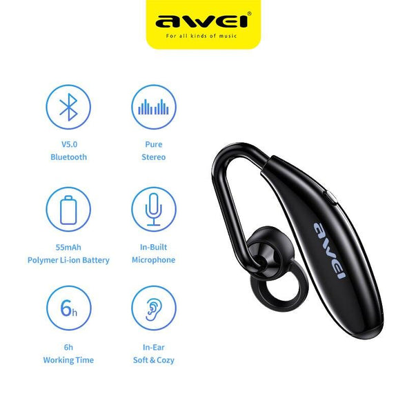 AWEI N5 Wireless Earbuds In-ear Black - fingla.com