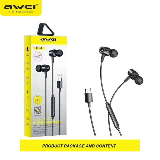 Awei TC-1 Earphone Type-C Jack - Black - fingla.com
