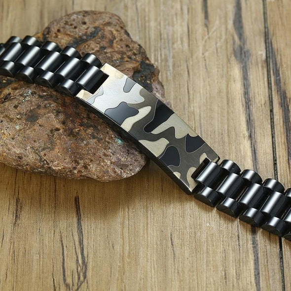 Black Bracelets Stainless Steel Link Chain Style Tough camouflage - fingla.com