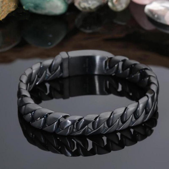 Black Stainless Steel 12MM Bracelet Jewelry Accessories Gift - fingla.com