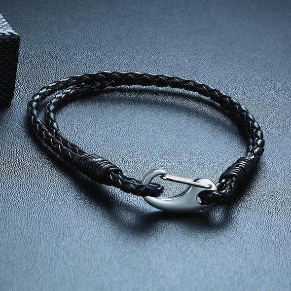 Casual Braided Leather 2-Strand Cuff Bracelet with Stainless Steel Clasp - fingla.com