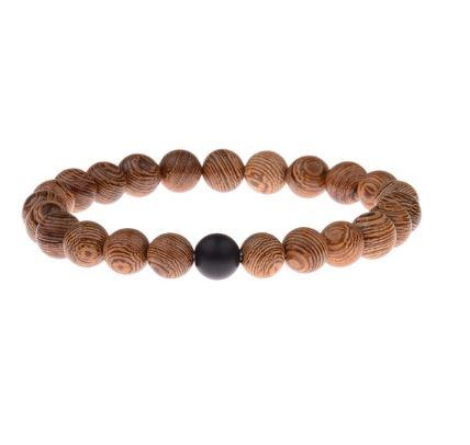 Couples Distance Bracelet Natural Wood Stone Best Friend - fingla.com