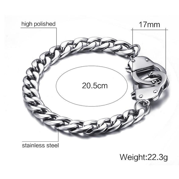 Handcuff Bracelet Promise Jewelry Stainless Steel Chain - fingla.com