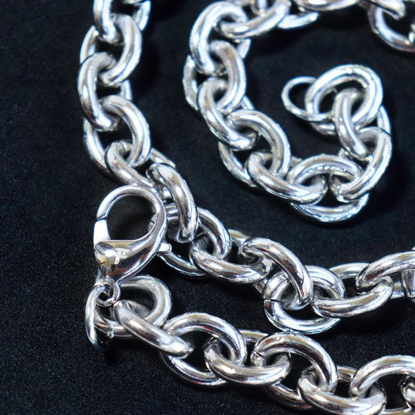 High Polished Link Chain 14mm 316L Stainless Steel Silver Color Necklace - fingla.com