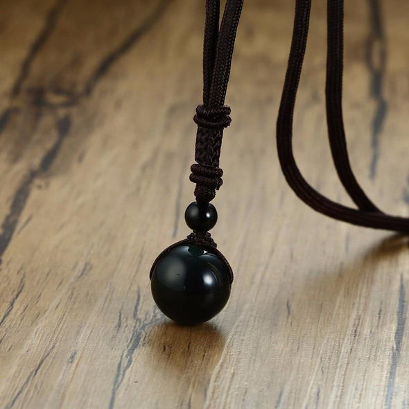 Lucky Jewelry Adjustable Length Polyester Rope Natural Obsidian Bead Necklace - fingla.com
