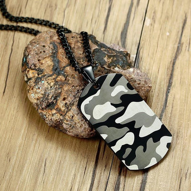 Military Stainless Steel Pendant Black Chains Geometry necklace - fingla.com