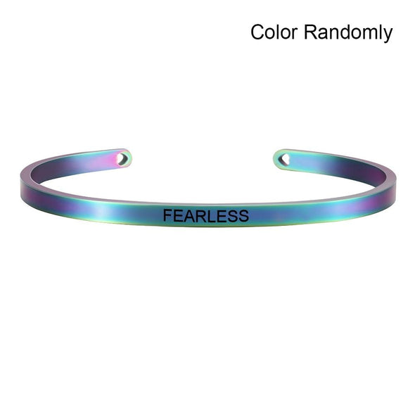 New Rainbow Stainless Steel Bangle Positive Inspirational Quote - fingla.com