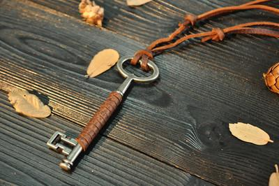 New Vintage Cow Leather Cord Key Pendant Necklace - fingla.com