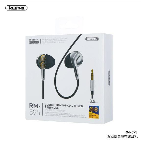 Original Remax RM-595 Double Moving-Coil Wired Earphone - fingla.com