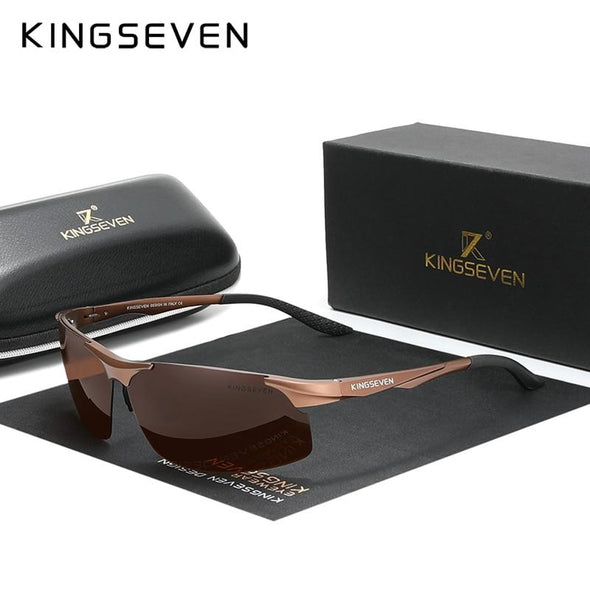 Polarized Men Aluminum Driving Mirror Lens Sunglasses Brown - fingla.com