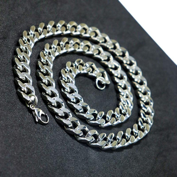 Polished Cuban Curb Link Necklace 11mm 316L Stainless Steel Silver Color Necklace - fingla.com