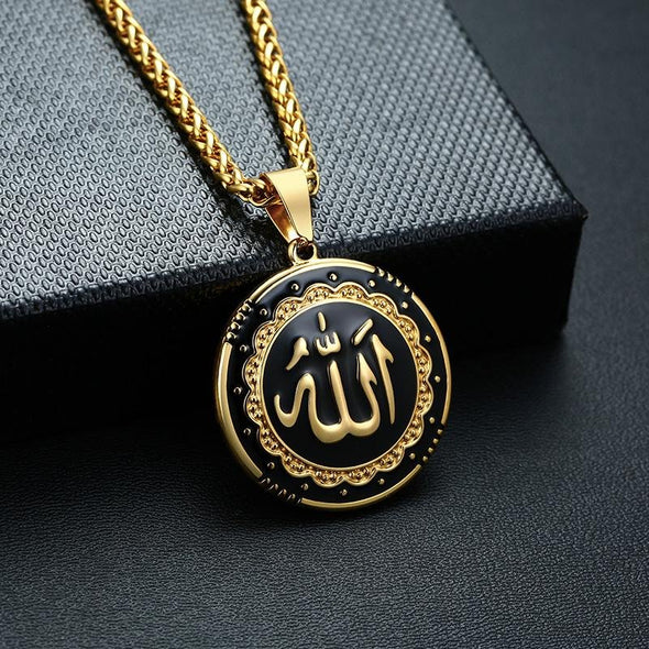 Religious Round Allah Pendant Necklaces Stainless Steel Islamic Jewelry - fingla.com