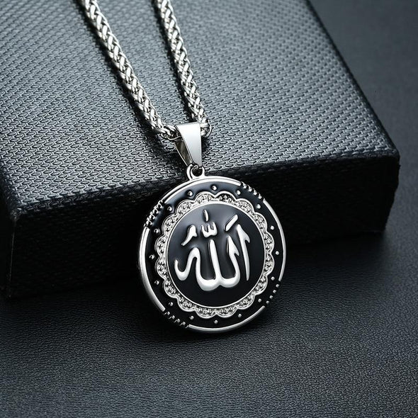 Fingla Originate Religious Round Allah Pendant Necklaces Stainless Steel Islamic Jewelry Silver Color in Bangladesh - fingla.com