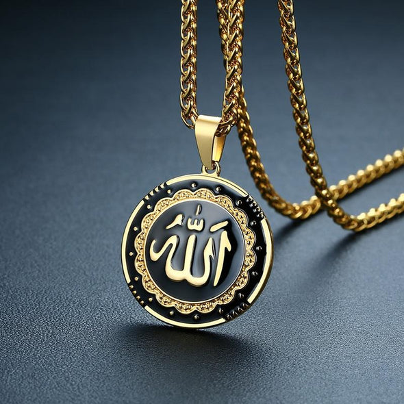 Fingla Originate Religious Round Allah Pendant Necklaces Stainless Steel Islamic Jewelry Golden Color in Bangladesh - fingla.com