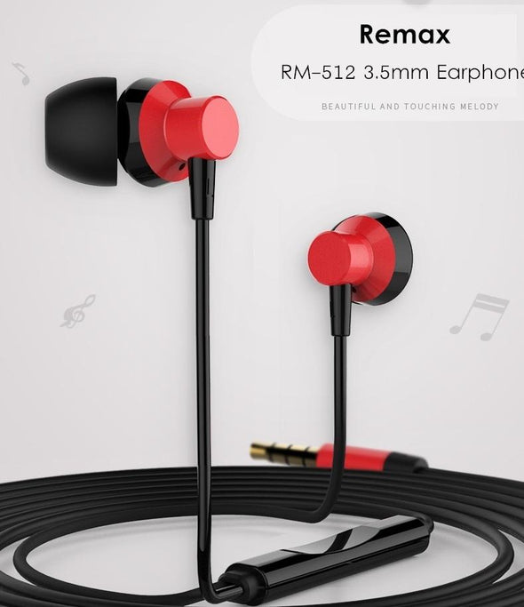 REMAX RM-512 3.5MM WIRED MUSIC EARPHONE HEAVY BASS - fingla.com