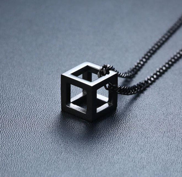 Retro Hollow Cube Pendant Stainless Steel Square Necklace - fingla.com