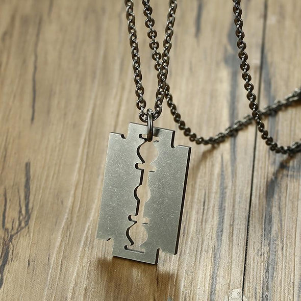 Retro Stainless Steel Razor Blades Necklaces Jewelry - fingla.com