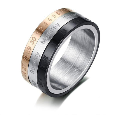 Rotatable 3 Part Roman Numerals Calendar Stainless Steel Cool Punk Ring Jewelry - fingla.com