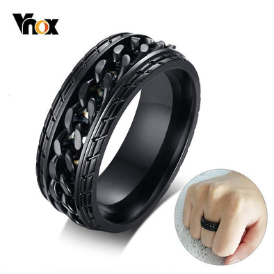Spinner Chain Ring Tire Texture Stainless Steel Vnox 8mm Cool Black Gold - fingla.com
