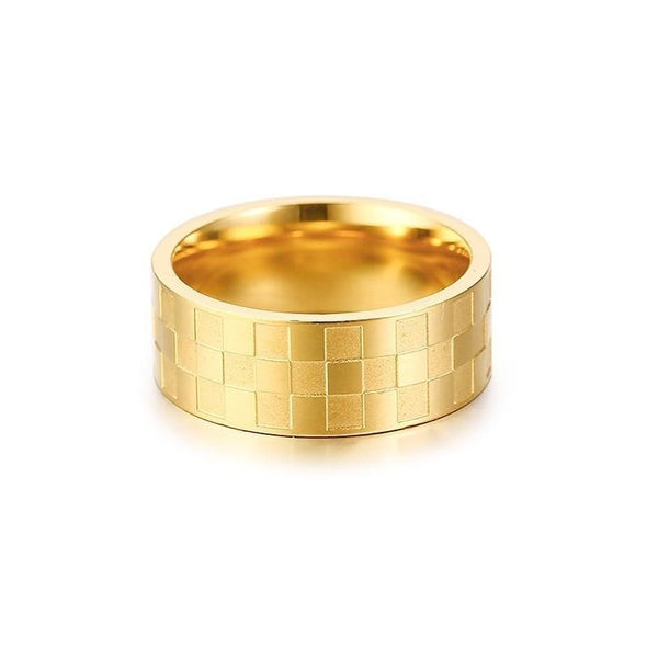 Square Rings 8MM Gold Tone Stainless Steel Wedding Bands - fingla.com