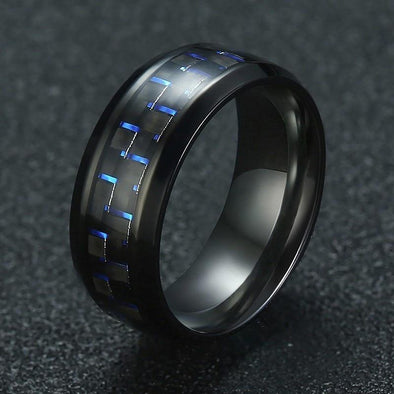 Stainless Steel Carbon Fiber Casual Ring - fingla.com