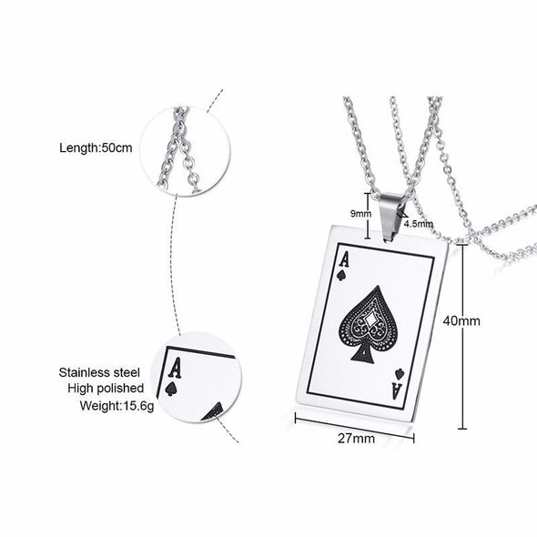 Stainless Steel Casino Fortune Playing Cards Necklace - fingla.com
