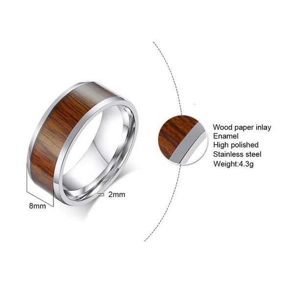 Stainless Steel Ring with Wood Inlay Jewelry - fingla.com