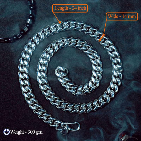 Temptation 14MM 316L Stainless Steel Silver Color Curb Cuban Fashion Choker Necklace - fingla.com