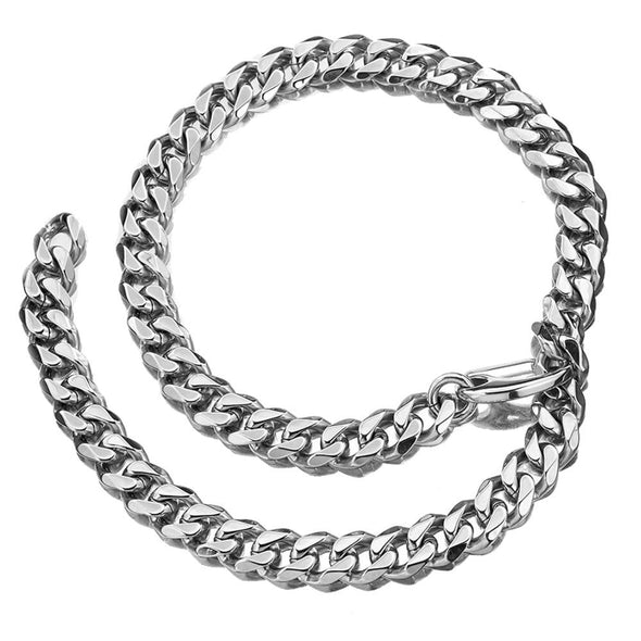 Temptation 15MM 316L Stainless Steel Silver Color Curb Cuban Fashion Choker Necklace - fingla.com