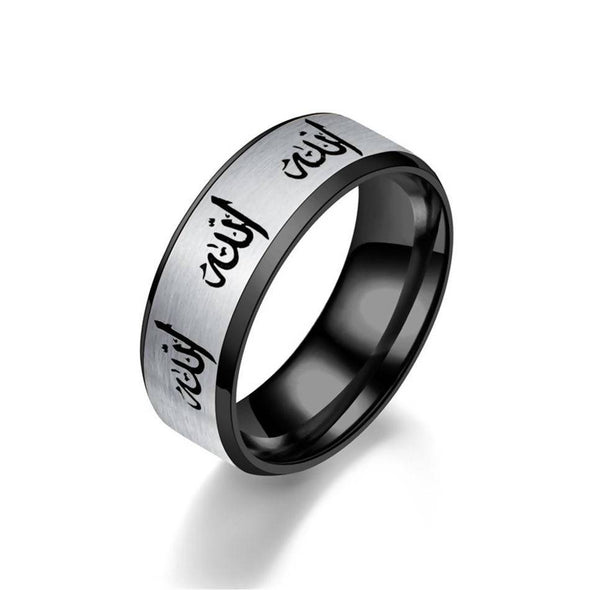 Vintage Gold Black Silver Colour Allah Stainless Steel Finger Ring - fingla.com