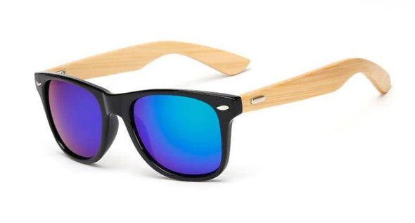 Wood Square Bamboo Mirror Handmade Sunglasses - fingla.com