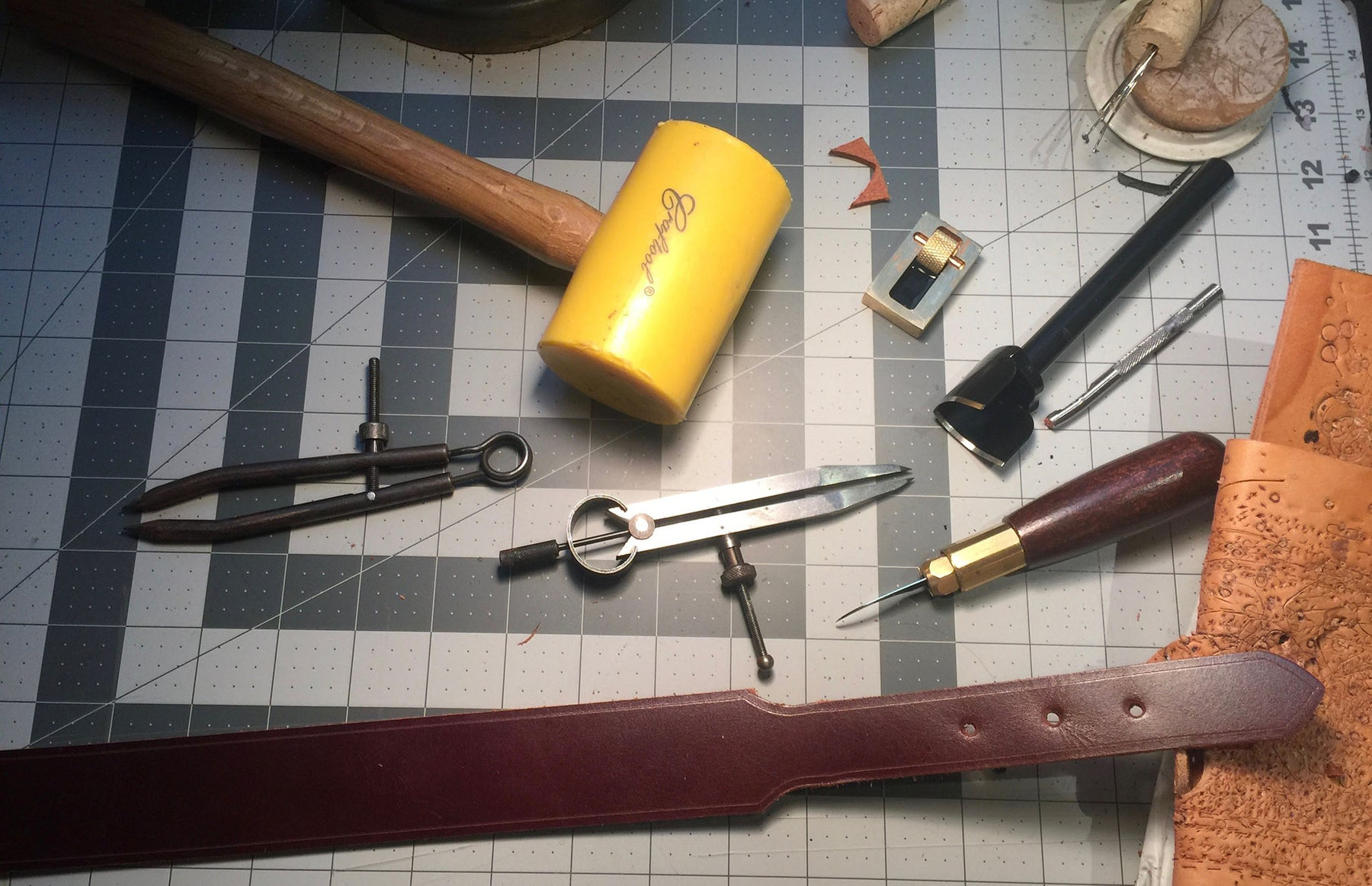 Leather working tools used at Bottega Flaviani  to make each handmade leather handbags and accessory in San Francisco