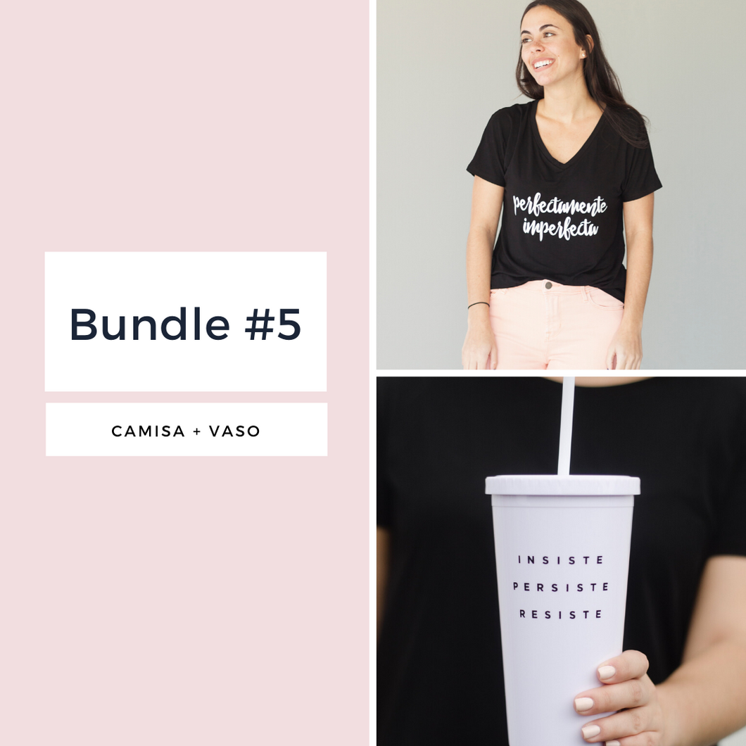 BUNDLE 5 (Camisa: Perfectamente Imperfecta + Vaso)