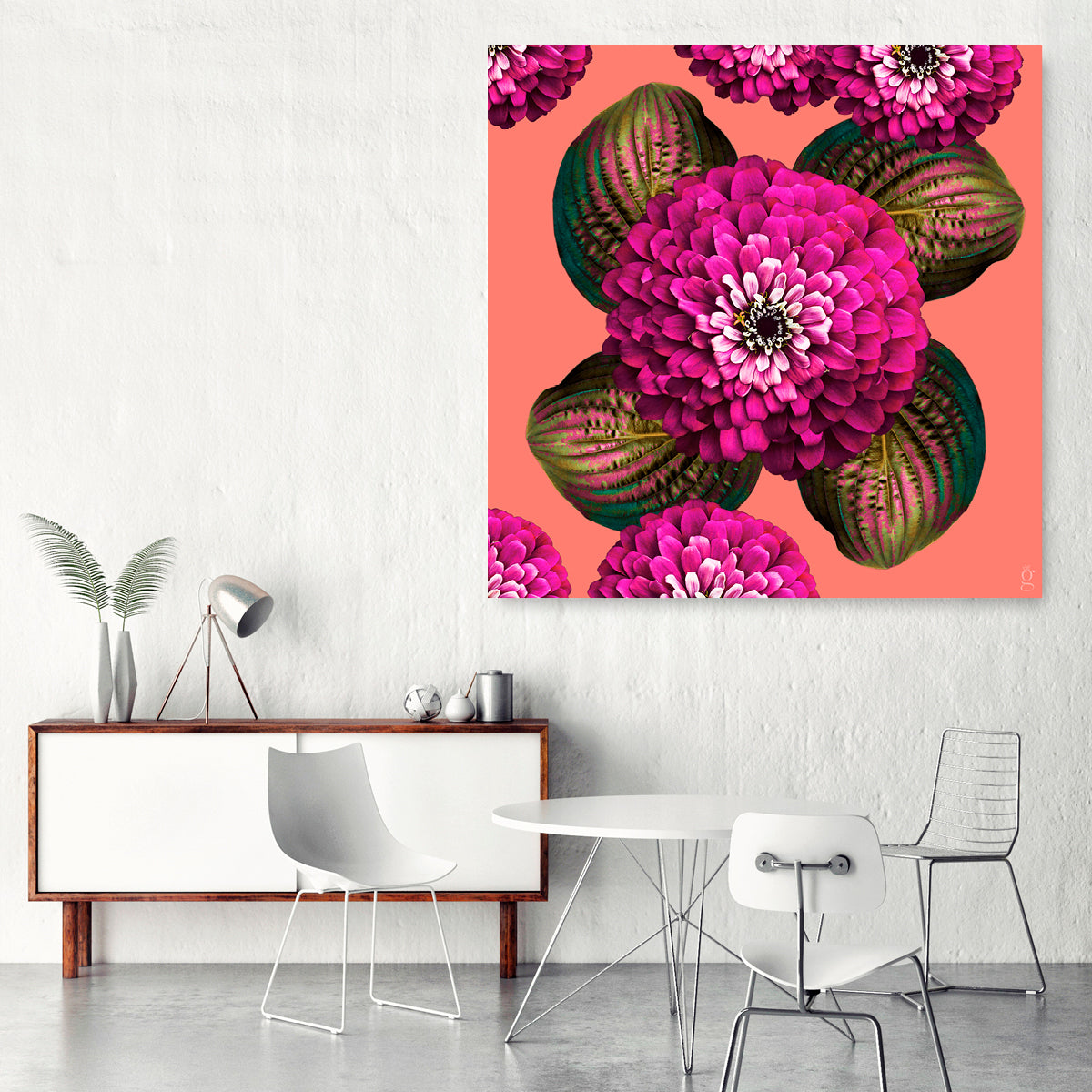 CHARMAINE FLOWER - Carmine Rose on Coral Wall Art