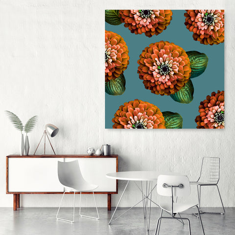 CHARMAINE - Burnt Orange on Brittany Blue Wall Art