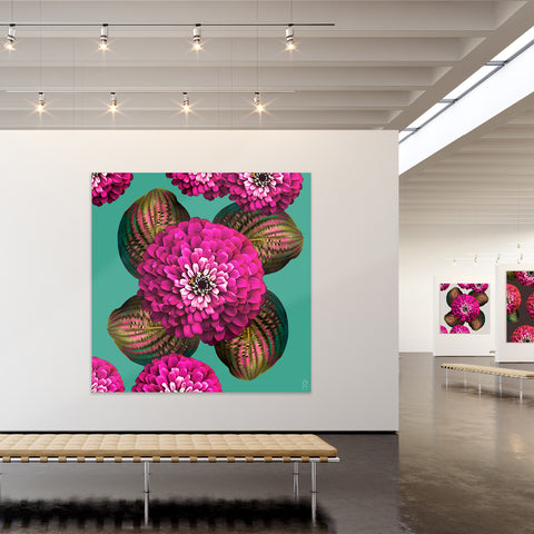 CHARMAINE FLOWER - Fuchsia on Marine Green Wall Art