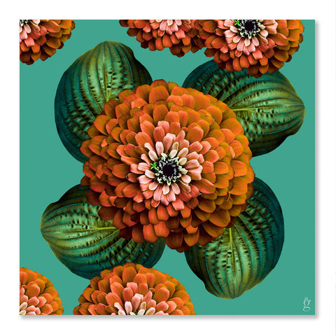 CHARMAINE FLOWER - Burnt Orange on Marine Green Wall Art