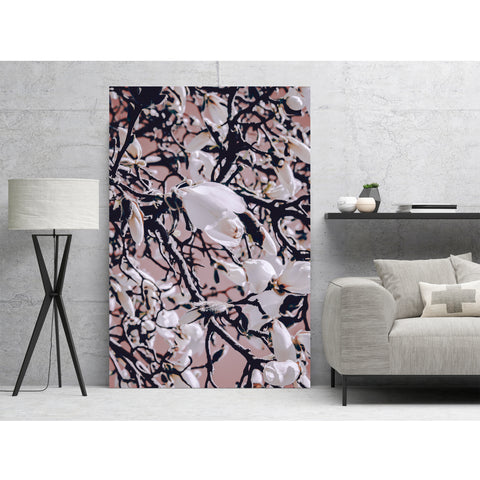 Magnolia Flower in Coral - Wall Art Mounted Under Acrylic Glass