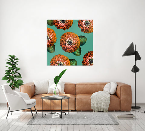 CHARMAINE - Burnt Orange on Marine Green Wall Art