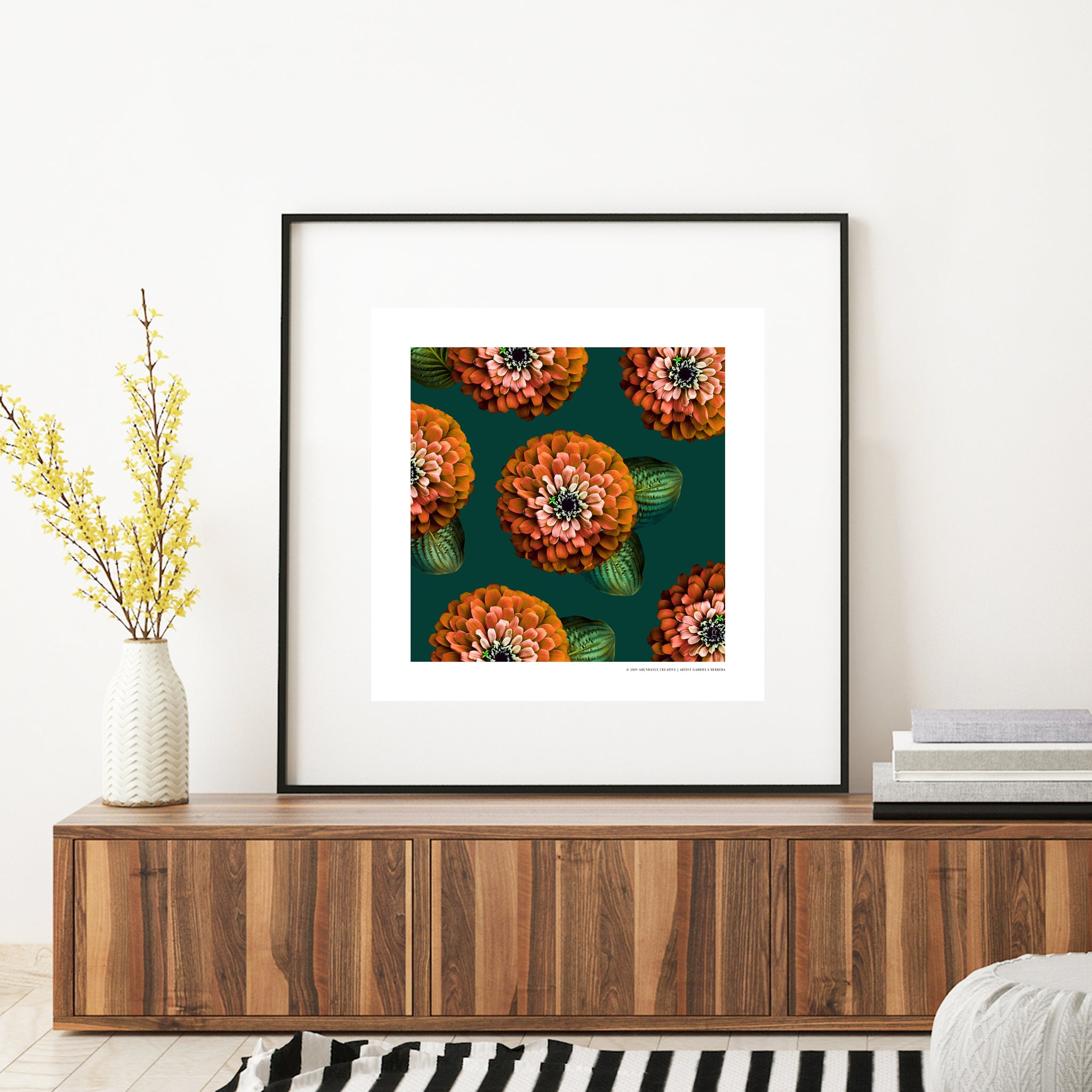 CHARMAINE - Orange on Green Print