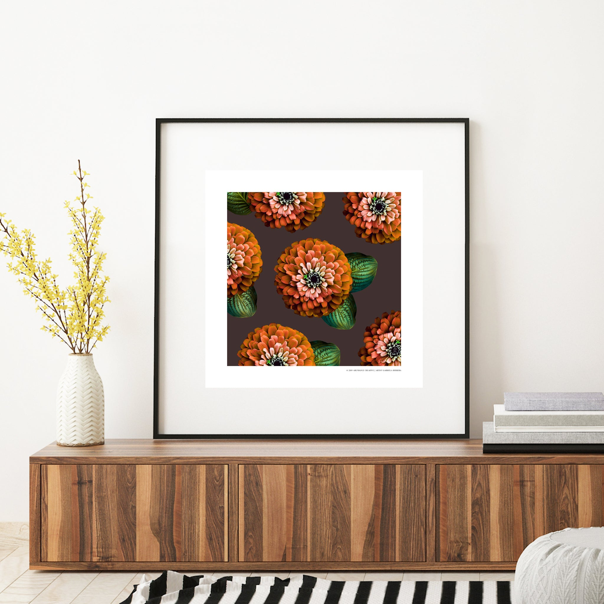 CHARMAINE - Orange on Coffee Bean Print