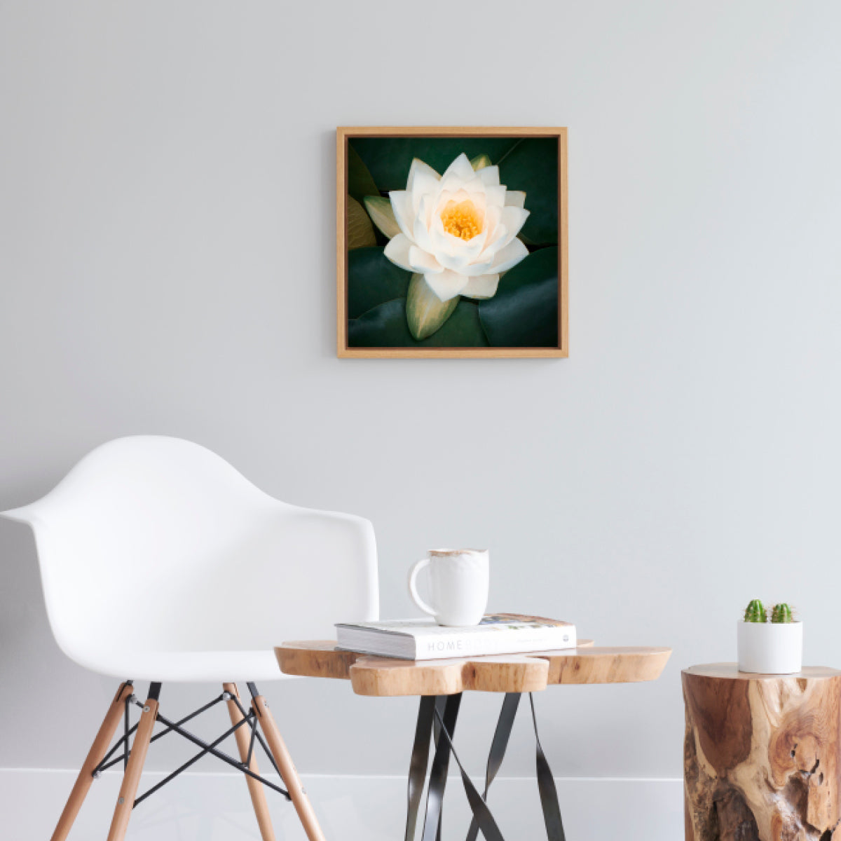 Water Lily No.5  - Photo Art with Natural Oak Frame