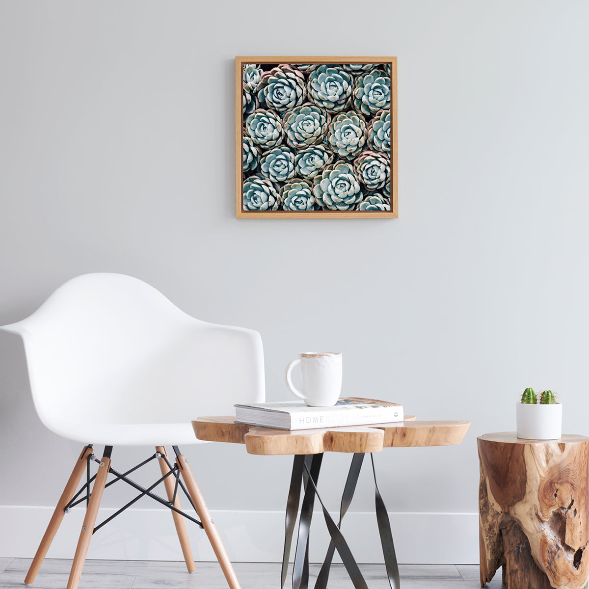 Harmony Succulent No.1 - Photo Art with Natural Oak Frame
