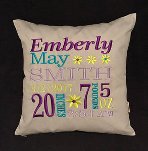 "Custom Embroidered 14"" Cotton Baby Pillow"