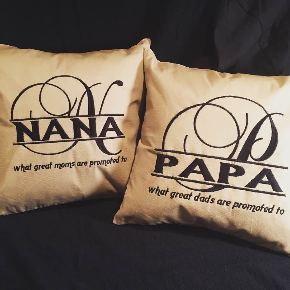 Grandparents Custom Embroidered Pillow